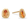 Pear Shape Orange Sapphire Handmade Stud Earrings