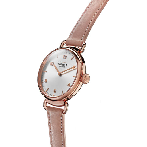 Shinola Ladies 32MM Canfield Quartz Rose Gold Case Blush Strap Watch S0120089878