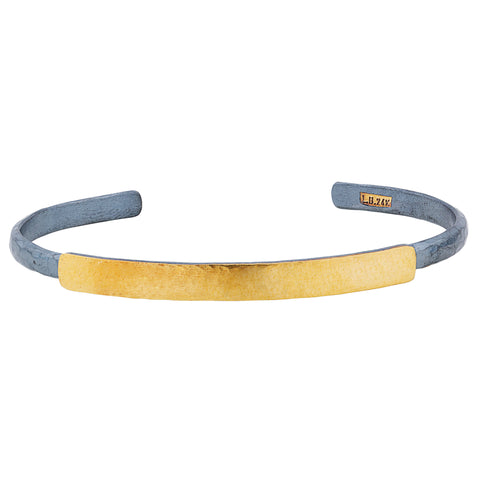 "Lika Behar ""Stockholm"" Thin Open Cuff ID Bracelet Oxidized Silver & 24K Gold"