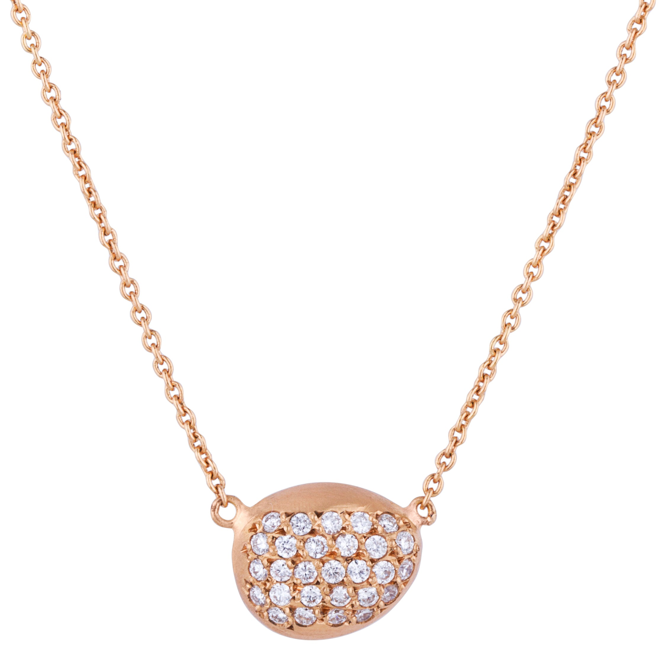 "Lika Behar Peach Glow ""Chained"" Single Pebble Diamond Necklace 22K Rose Gold"