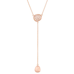 "Lika Behar Peach Glow ""Chained"" Single Pebble Diamond Lariat Necklace 22K Rose Gold"