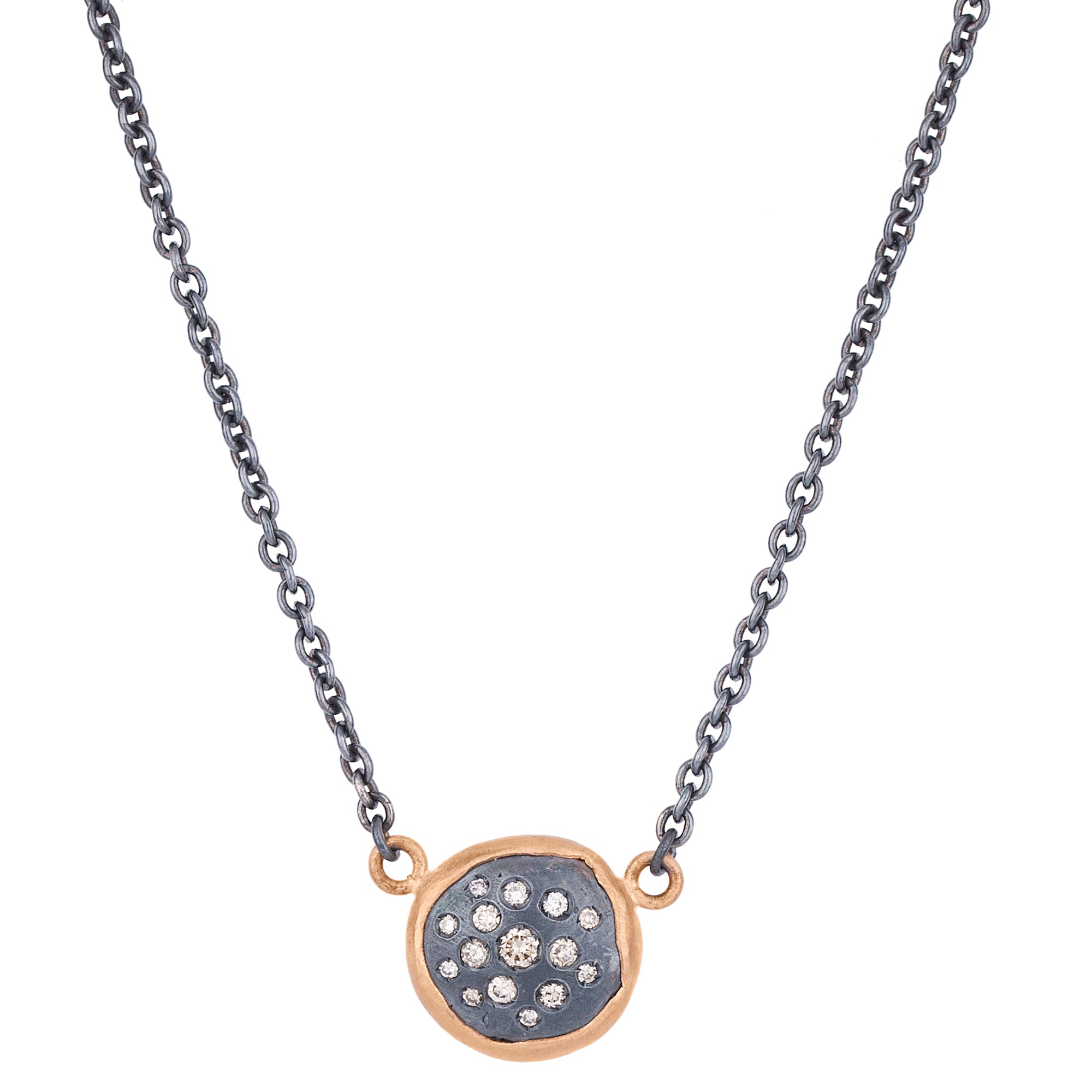 "Lika Behar ""Peach Glow"" Cognac Diamond Necklace Pendant Oxidized Silver & 18K Rose Gold"