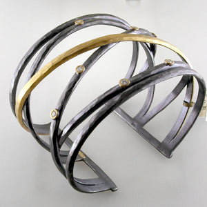 """Stockholm Crosswire"" Open Cuff Bracelet Oxidized Silver & 24K Gold with Diamonds"