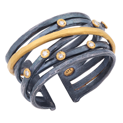 "Lika Behar ""Stockholm Crosswire"" Ring Oxidized Silver & 24K Gold with Diamonds"