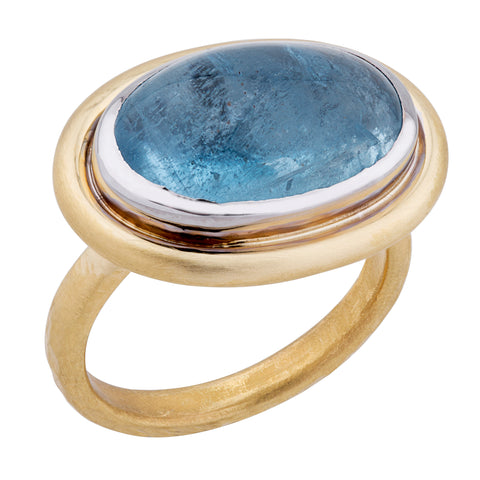 Lika Behar Oval Cabochon Aquamarine 22K Gold Ring