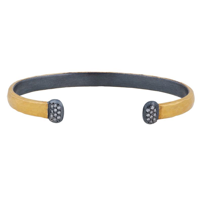 "Lika Behar ""Stockholm"" Diamond Cuff Hand Hammered Bracelet ST-B-701-GXD-7"