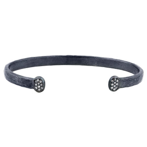 "Lika Behar ""Stockholm"" Diamond Cuff Hand Hammered Bracelet Oxidized Silver"
