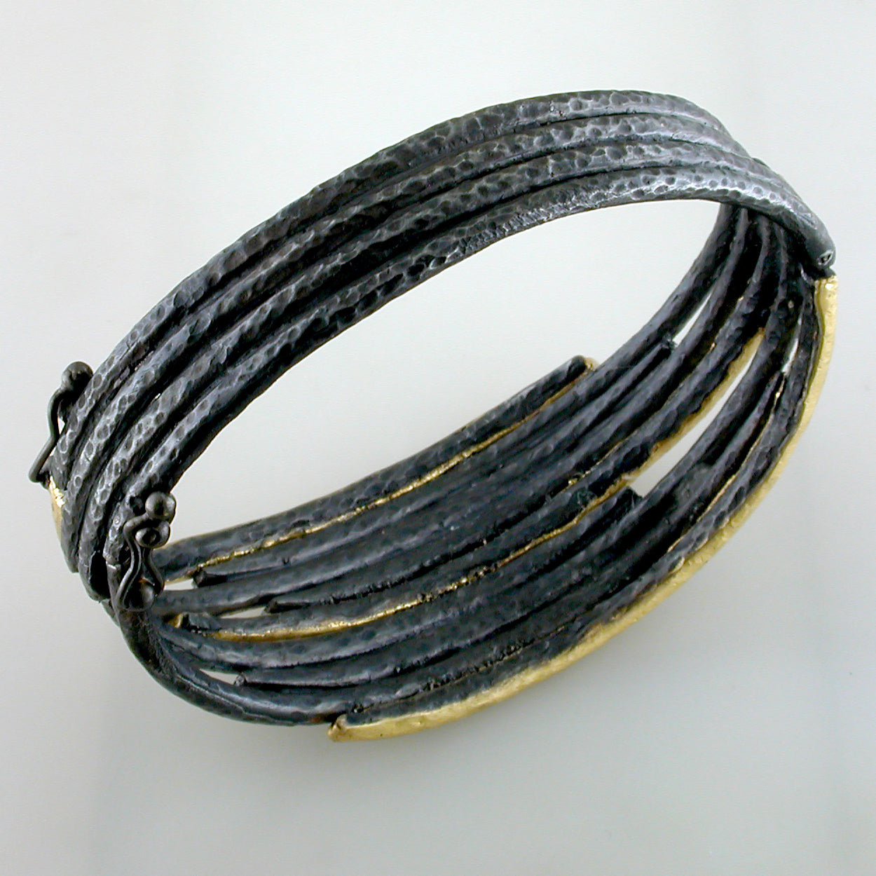 "Lika Behar ""Zebra"" Diamond Bracelet in 24K Gold & Oxidized Silver"