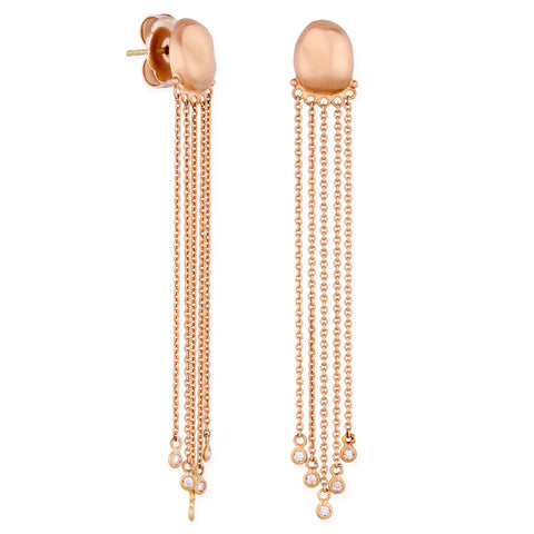 "Lika Behar Peach Glow ""Chained"" Pebble Drop Dangle Diamond Earrings 22K Rose Gold"