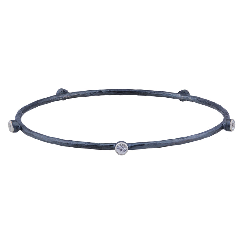 Lika Behar Oxidized Silver Bracelet with 5 Sapphires HM-B-603-SAP5-SOX