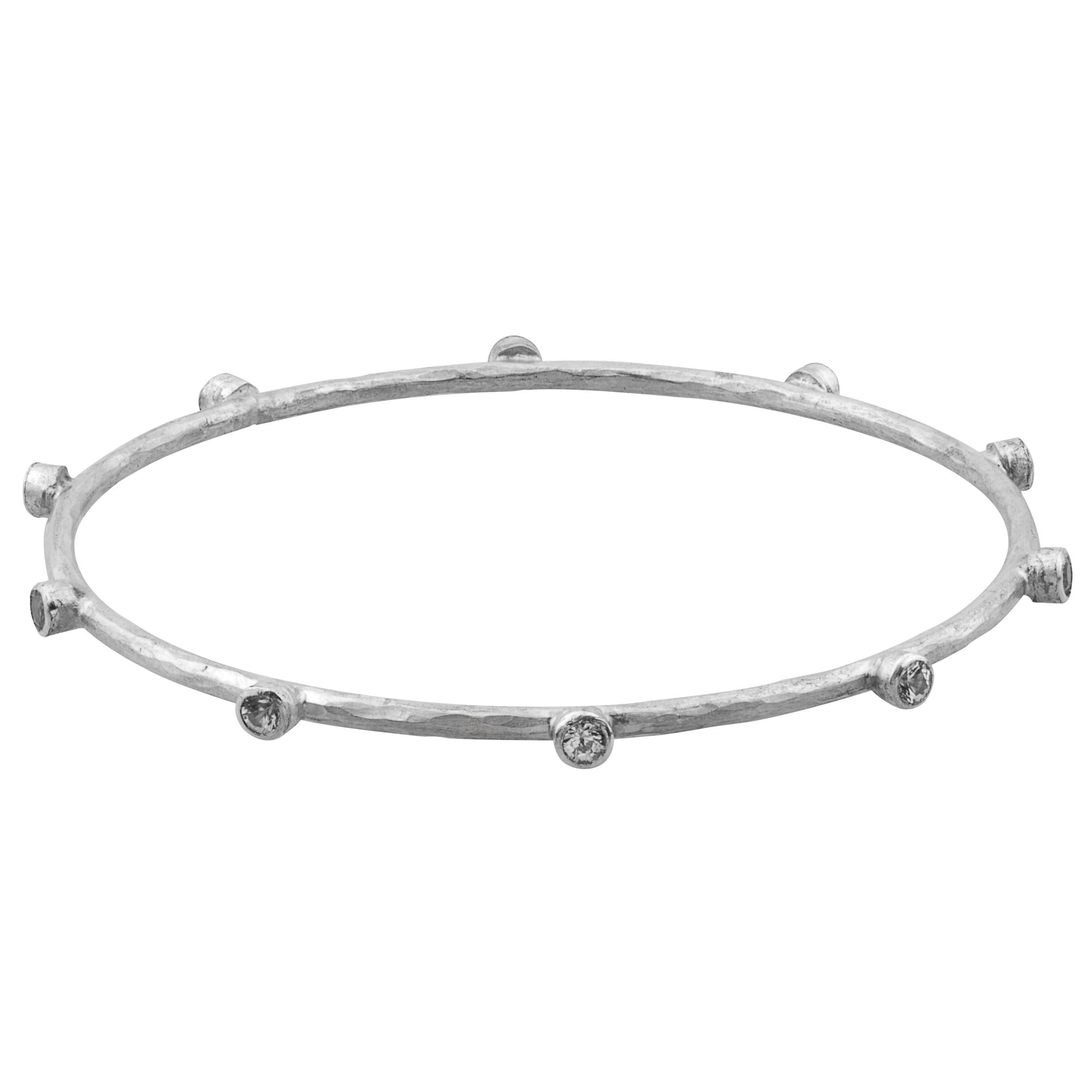 Lika Behar Silver Bangle Bracelet with 10 White Sapphires