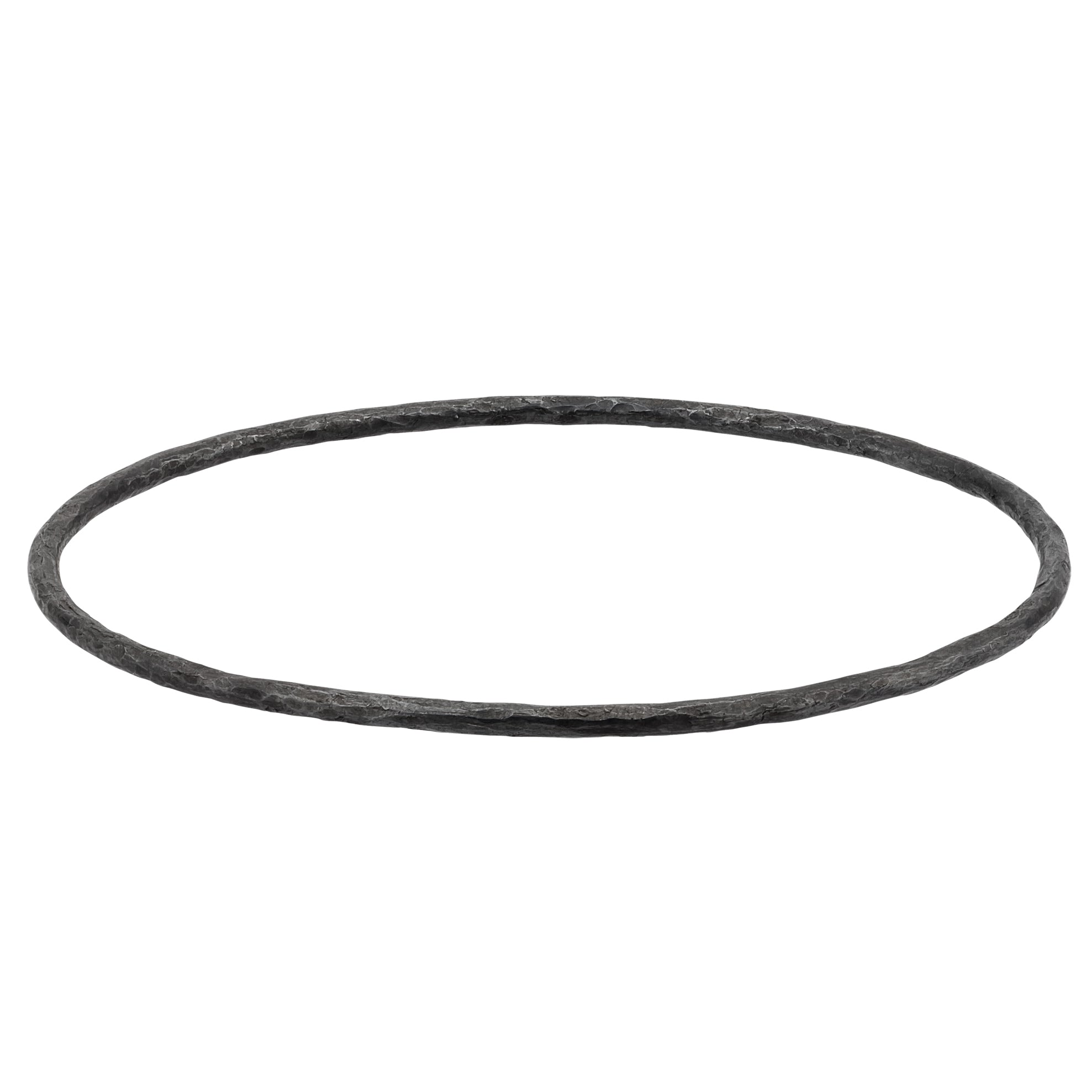 Lika Behar Plain Hammered Oxidized Silver Bangle Bracelet
