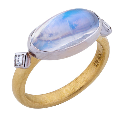 "Lika Behar ""Moondance"" Ring 22K Yellow Gold Oval Blue Moonstone"