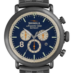 Shinola Gents 47mm Runwell Chronograph Crontrast Stainless Steel Watch 10000075