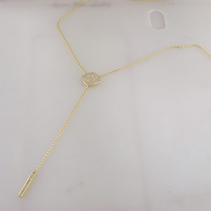 Doves Pave Diamond Cushion Shaped Lariat Dangle Drop Yellow Gold Necklace