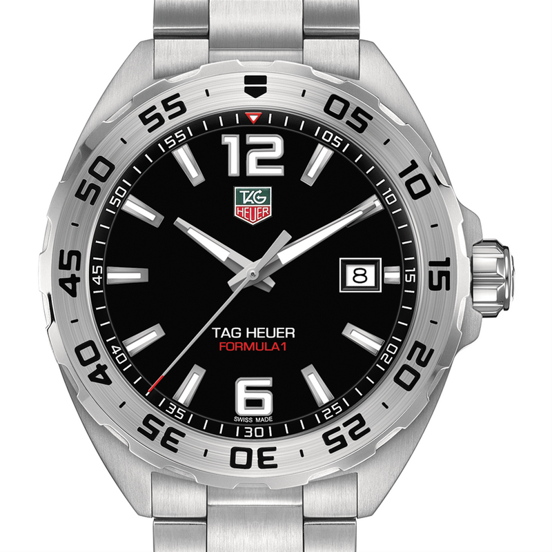 TAG Heuer FORMULA 1 F1 41MM Mens Black Dial Stainless Steel Watch WAZ1112.BA0875