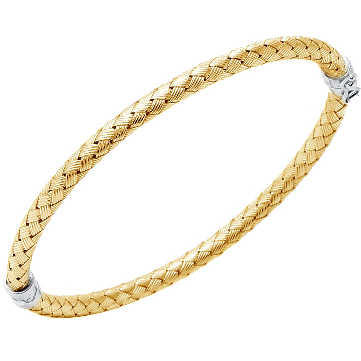 Charles Garnier Sterling Silver 4mm Palermo Mesh Bangle Bracelet With an 18K Yellow Gold Finish