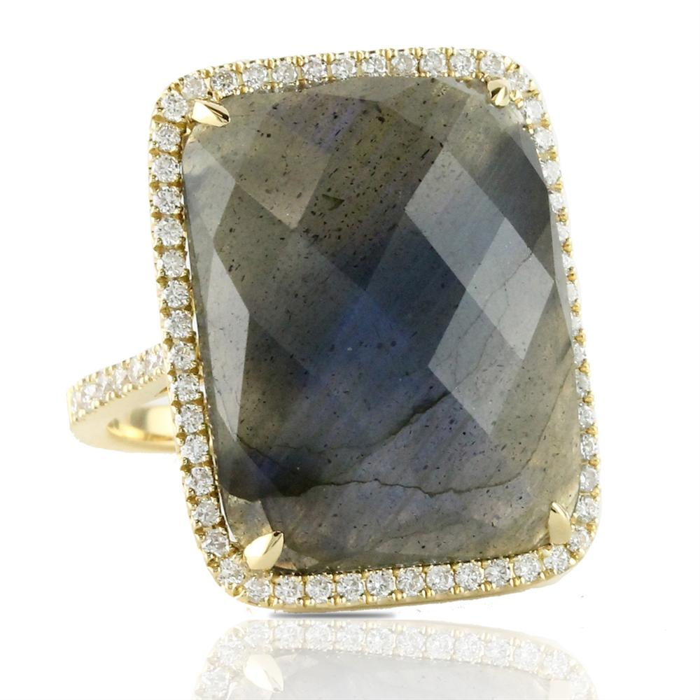 Doves Labradorite & Diamond Rectangle 18K Yellow Gold Ring