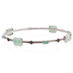 Armenta Silver Cravelli and Multi-Emerald-Cut Chrysoprase Doublet Bangle Bracelet 08883