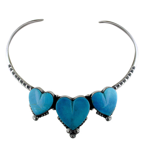 Estate Gary G. Triple Sleeping Beauty Turquoise Sterling Silver Collar Necklace