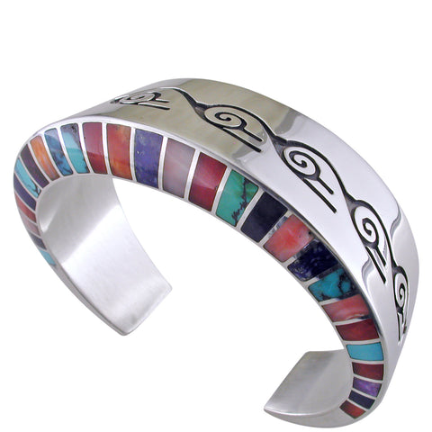 Estate Lonn Parker Navajo Multi-stone Inlay Silver Cuff Bracelet Turquoise Coral Lapis