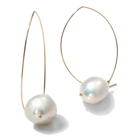 Mizuki Sea of Beauty Floating Pearl Open Marquise Earrings