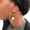 Mizuki Sea of Beauty Floating White Pearl Hoop Earring 14K