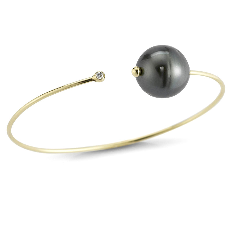 Mizuki Sea of Beauty Black Pearl and Diamond Cuff Bracelet