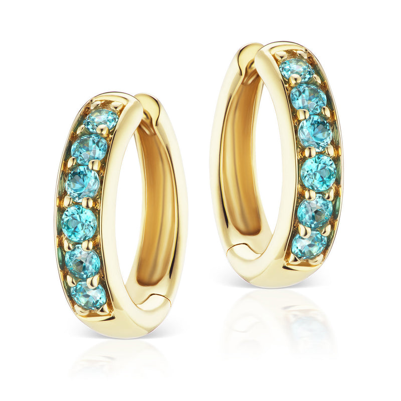 Jane Taylor Cirque Classic Hoops with Round Blue Zircons Yellow Gold