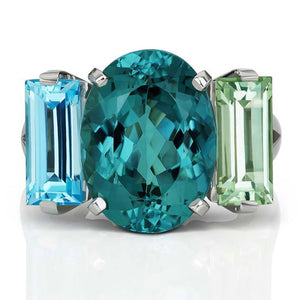 Jane Taylor Cirque The Sword Swallower Ring with London Blue Topaz & Green Quartz