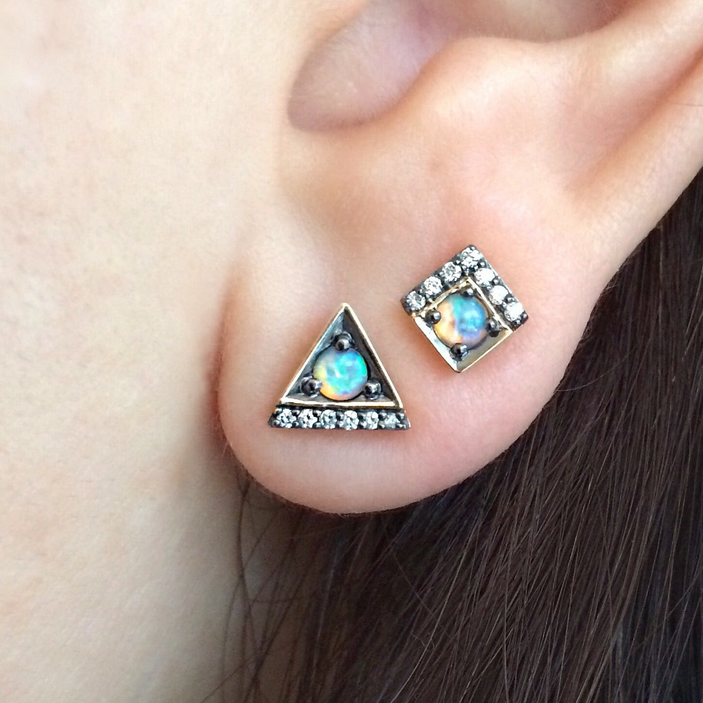 Jane Taylor Cirque Petite Square Stud Earrings with Opals Yellow Gold