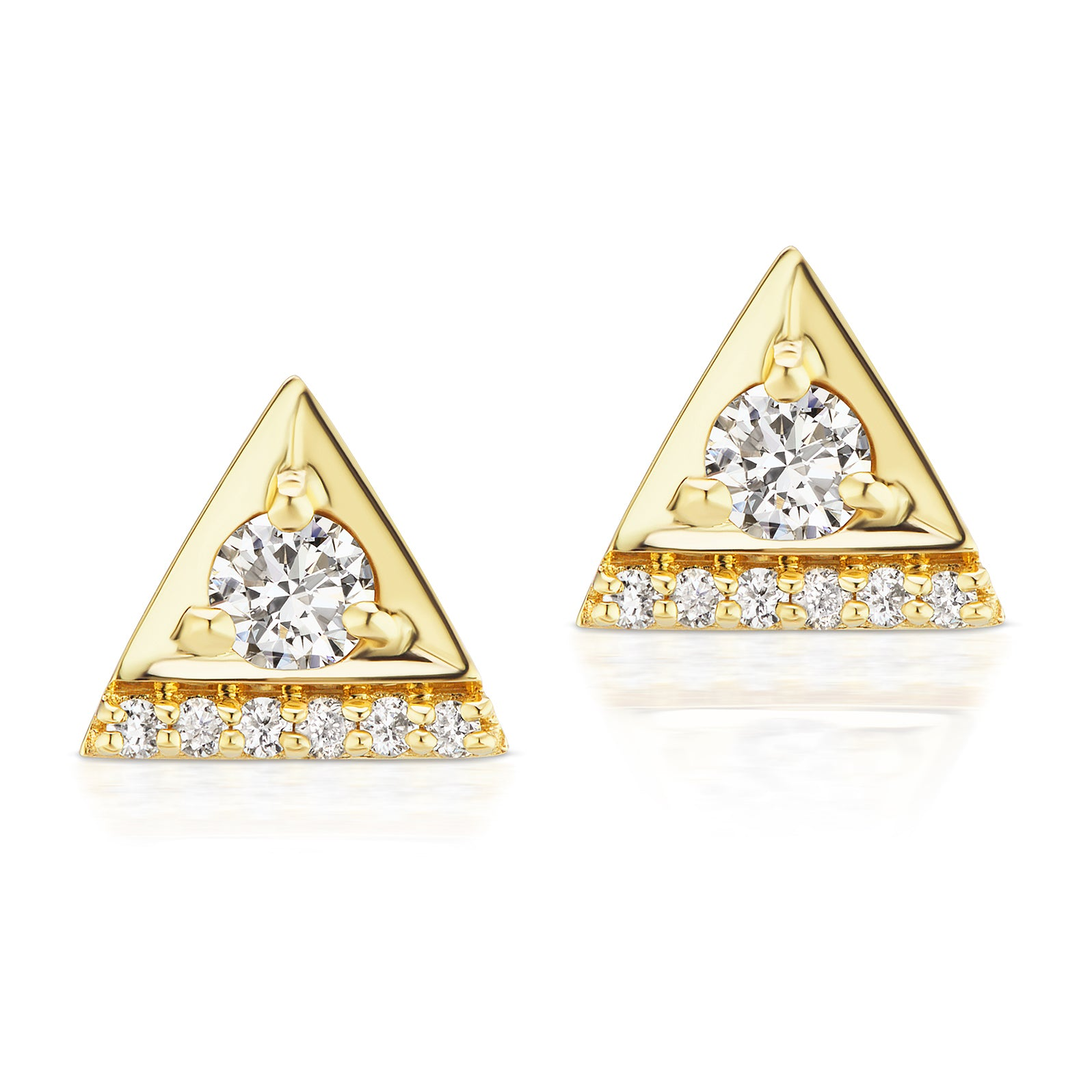 Jane Taylor Cirque Triangle Stud Earrings with Diamonds Yellow Gold
