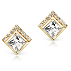 Jane Taylor Cirque Square Stud Earrings with White Topaz