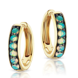 Jane Taylor Cirque Classic Hoop Earrings with Opal Cabochons in Yellow Gold