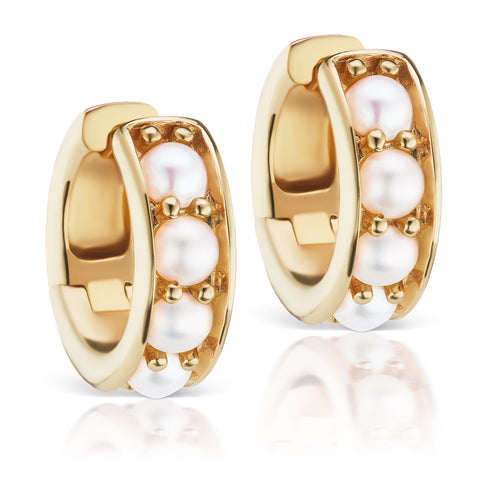 Jane Taylor Cirque Chubby Hoop Earrings in Yellow Gold with Pearls