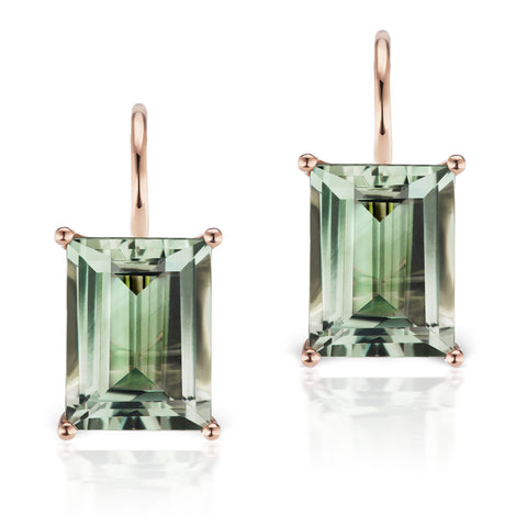 Jane Taylor Rosebud Green Quartz Baguette Drop Earrings