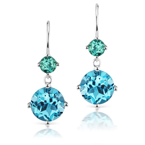 Jane Taylor Twinkle Twinkle Petite Double Drop Earrings with Blue Topaz & Green Tourmaline