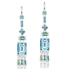 Jane Taylor Cirque Tassel Earrings with Green Tourmaline & Blue Topaz