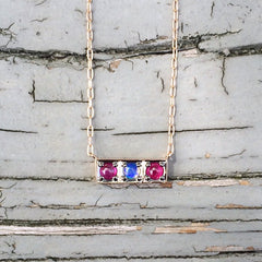 Jane Taylor Cirque Petite Bar Necklace with Ruby and Opal Cabochons