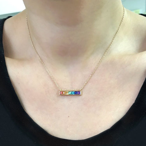 Jane Taylor Cirque Horizontal Bar Necklace with Rainbow Gemstones