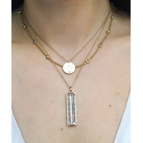 Jane Taylor Rosebud Vertical Bar Necklace with Green Quartz & Diamonds