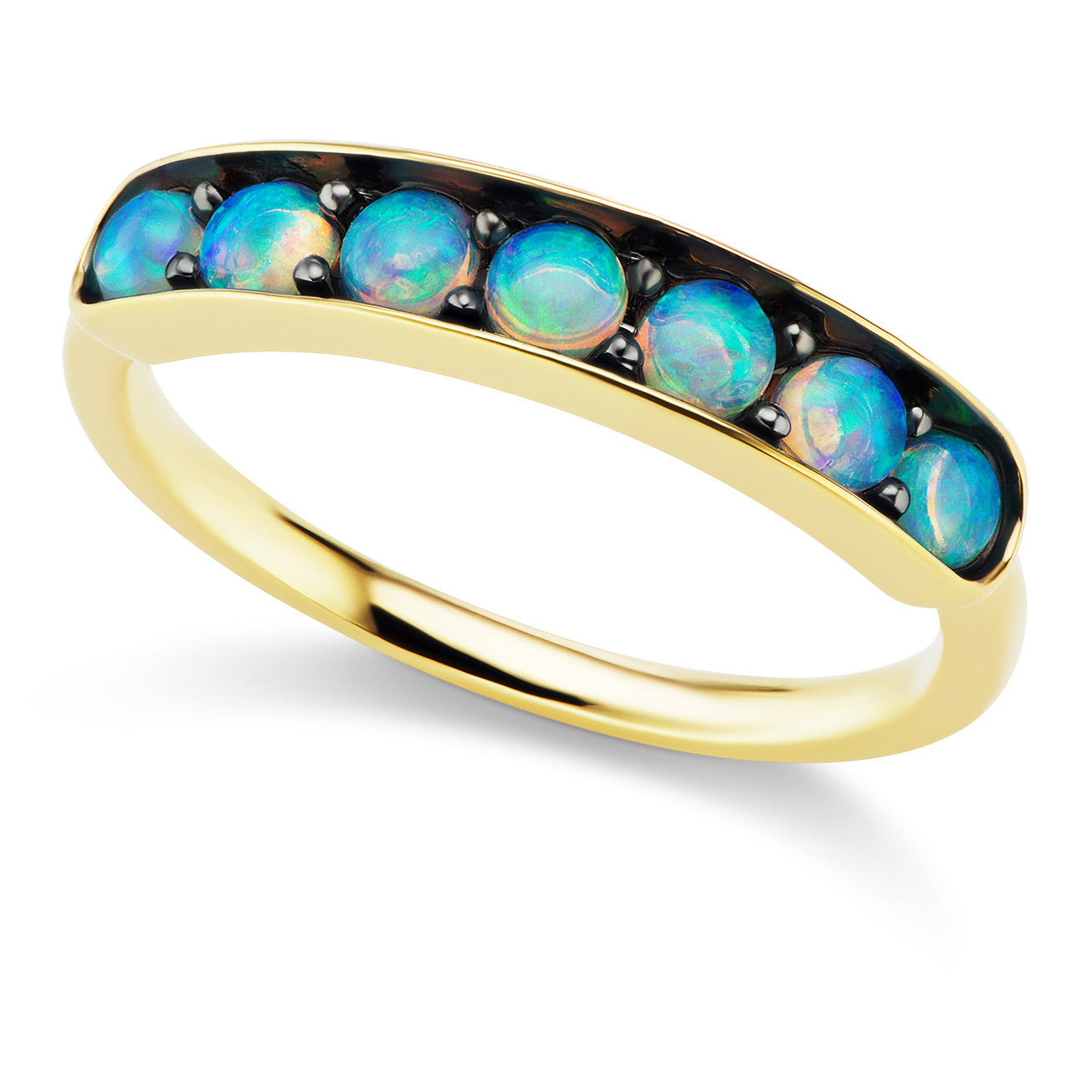 Jane Taylor Cirque Large Half Eternity Band with Opal Cabochons
