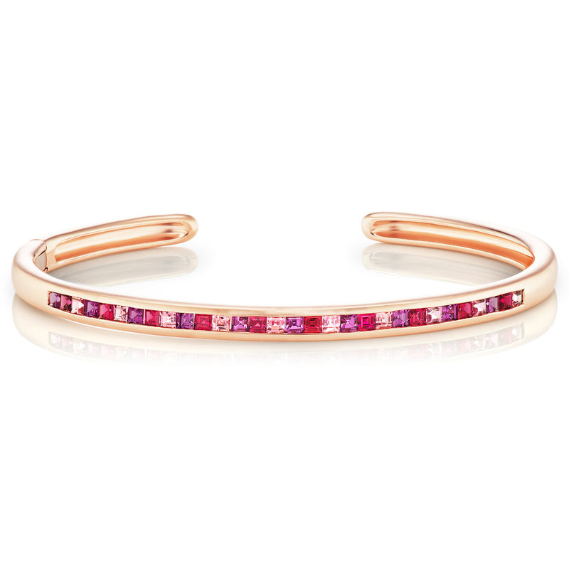 Jane Taylor Cirque Slim Oval Hinged Cuff with Red Spinel, Purple Garnet, Pink Tourmaline