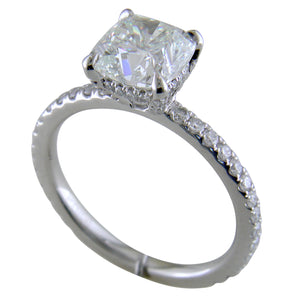 Cushion Brilliant Cut Diamond Platinum Engagement Ring