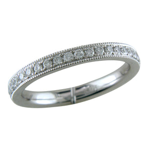 Platinum Diamond Eternity Band Ring with Milgrain custom connecticut