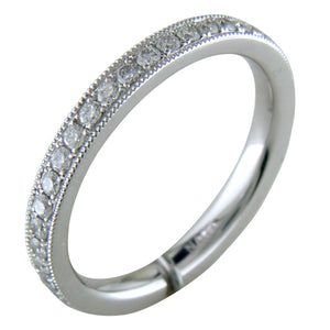 Platinum Diamond Eternity Band Ring with Milgrain
