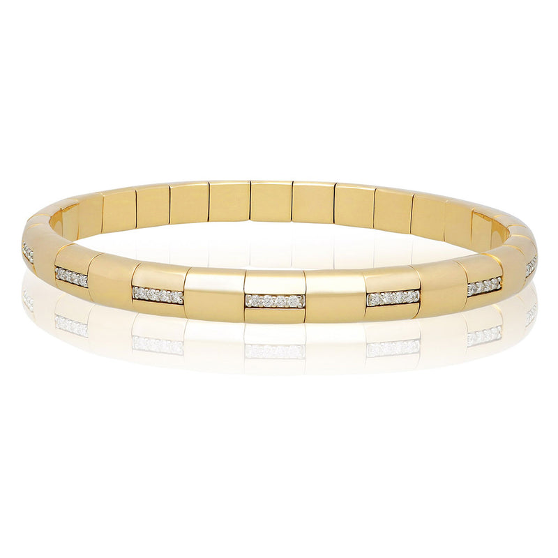Roberto Demeglio Pura Oro Bracelet Eternity Style Horizontal Diamond Bars Yellow Gold