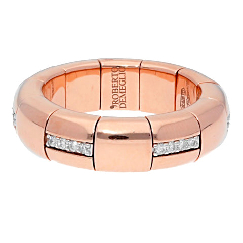 Roberto Demeglio Pura Oro Rose Gold Ring with Eternity Horizontal Diamond Bars