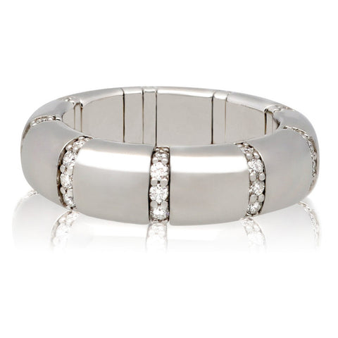 Roberto Demeglio Pura Oro White Gold Ring with Eternity Diamond Bars