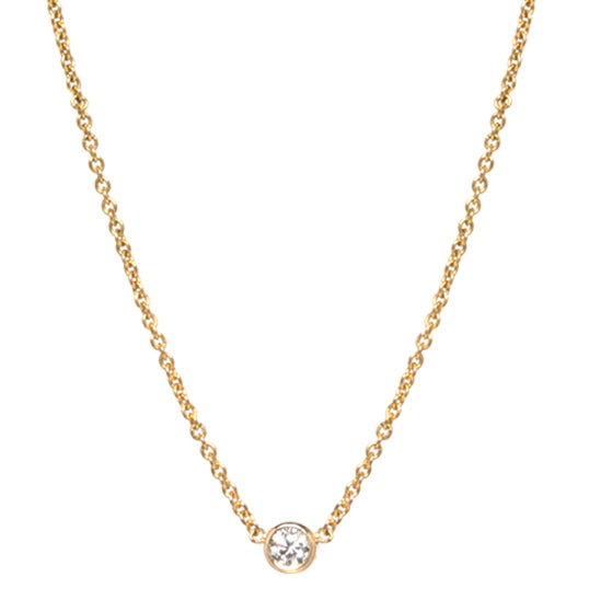 Zoë Chicco Single Diamond Necklace Bezel 14K Yellow Gold